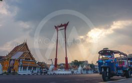 wat suthat and giant swing at bangkok, thailand,