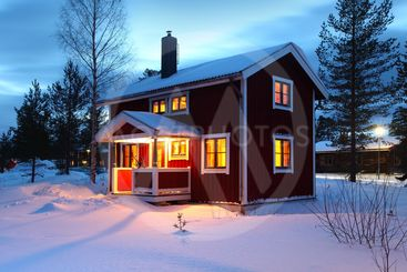 wooden house in Sweden during winter