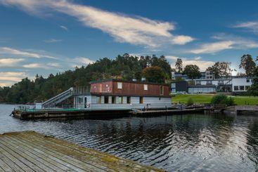 Landskaps vy av Skepparholmen spa vid vattnet.
