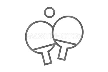 Table tennis racket and ball line icon.