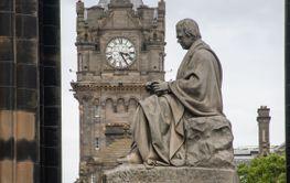 Memorial to Sir Walter Scott Edinburgh with clock in...