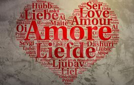 Italian: Amore. Heart shaped word cloud Love, grunge...