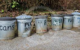 Metal outdoor recycling bins