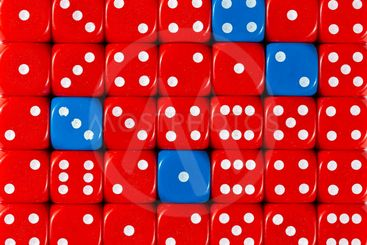 Background of random ordered red dices with four blue cubes
