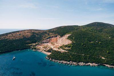 Stone quarry. Stone-mining quarry on the coast of the...