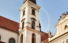 Church tower in a town