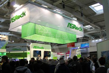 HANNOVER - MARCH 10: stand of Asrock on March 10, 2012 at...