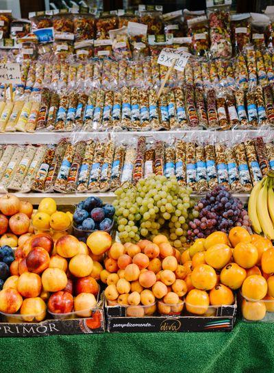 Venice, Italy - 04 october 2019: Market fruits stall, on...