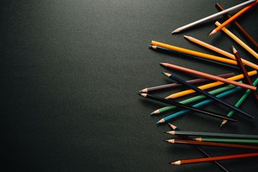 Colorful pencils on the right corner