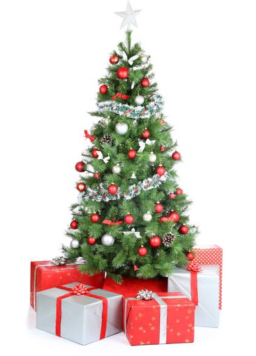 Christmas tree gifts present decoration isolated on white