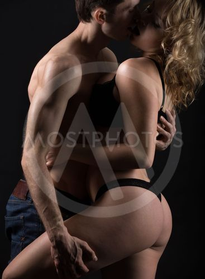 Foreplay of beautiful couple