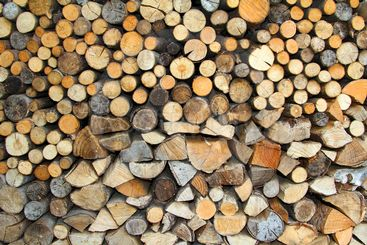 Wall from dry firewood