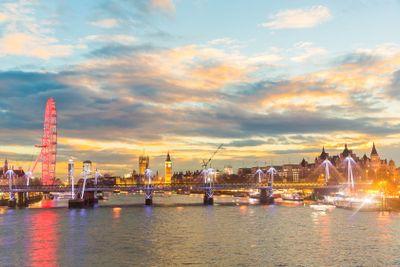 London panoramic view at sunset with illuminated skyline