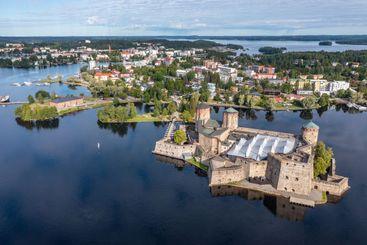Savonlinna city center and Olavinlinna Castle in summer