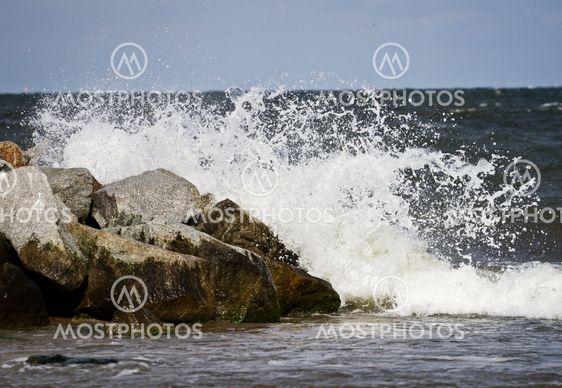 Wave splash at the Baltic Sea