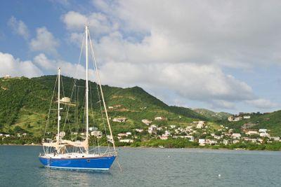 Sailboat anchored in Virgin Islands