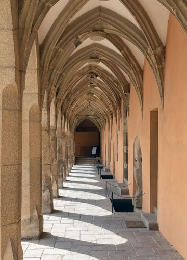 Gallery with columns and shadows in Eger Castle, Hungary