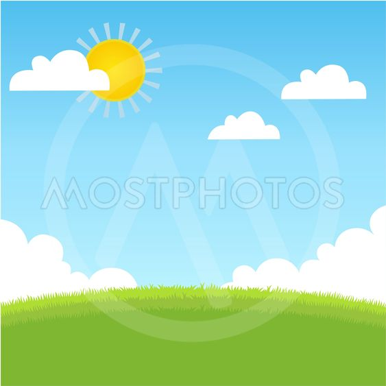Summer landscape with grass, blue sky