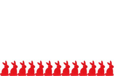 Row of red rabbits