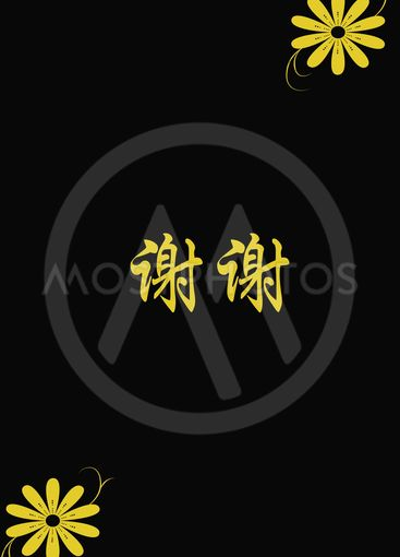 Chinese characters of THANK  YOU on black