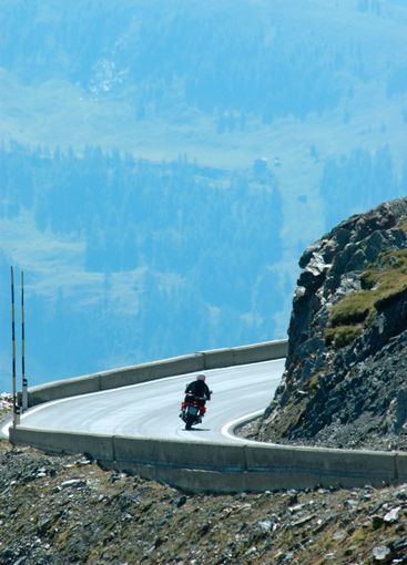 motorcyclist in the mountains