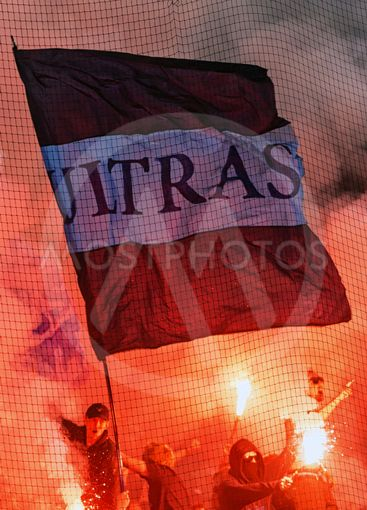 Ultras with flag in halftime and using bengals in the...