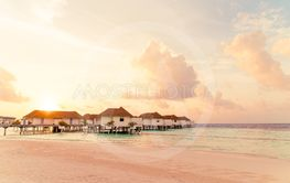 Beautiful tropical Maldives resort hotel and island with...