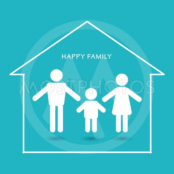Happy Family parents with children Home icon sign vector