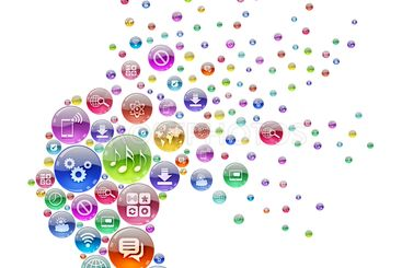 Silhouette human head consisting of apps icons