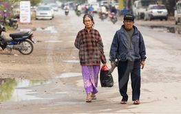 Burmese mature couple walking