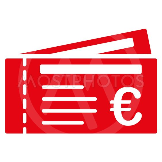 Euro Tickets Flat Glyph Icon
