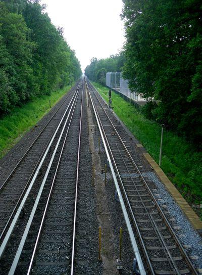 The top view on railway tracks