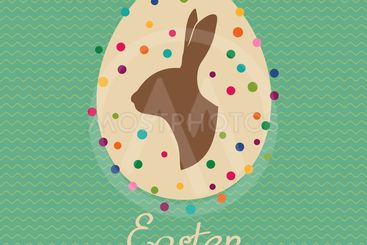 Easter vintage card with easter egg and easter bunny....