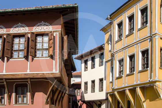 Street with houses in the traditional style of old Plovdiv