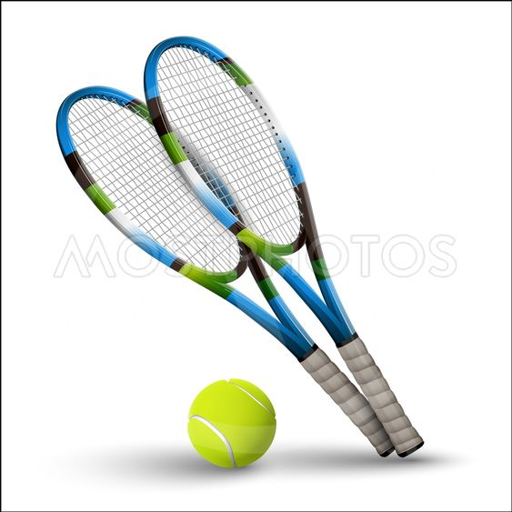 Tennis symbols rackets and ball isolated on white...