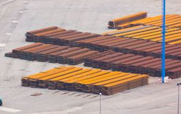 Iron bars stacked for transport