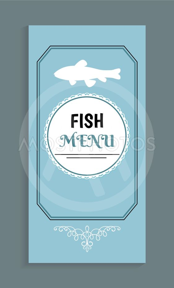 Fish Menu Template, Vector Seafood Dishes List