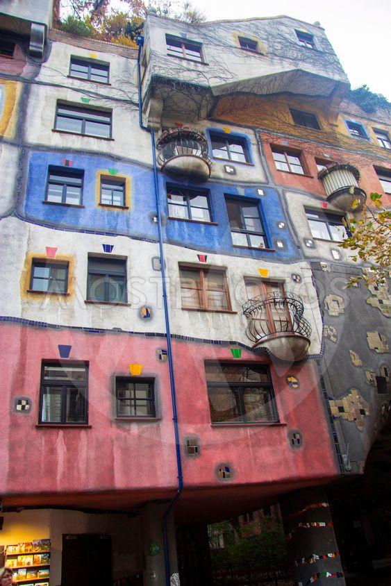 Colorful fassade of Hundertwasser house in Vienna Austria