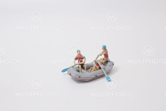 the mini men of Whitewater Rafting,  Raft With Figures