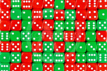 Background of 70 random ordered red and green dices