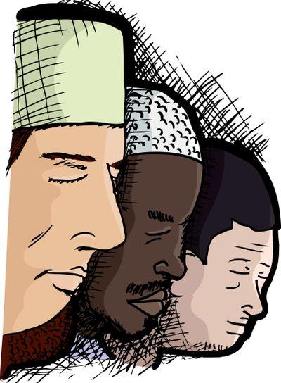 Muslim Men in Prayer