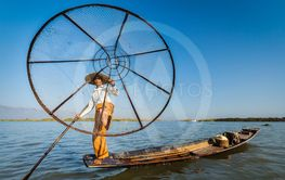 Burmese fisherman at Inle lake, Myanmar