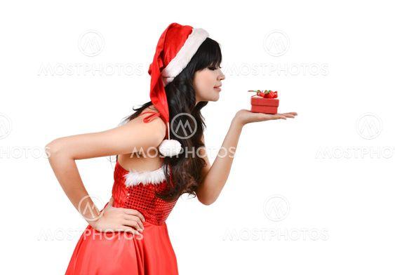 Santa nainen, jolla lahjapakkauksessa