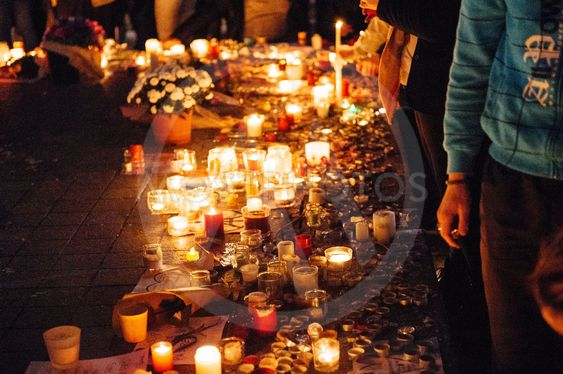 People gathering in solidarity with victims from Paris...
