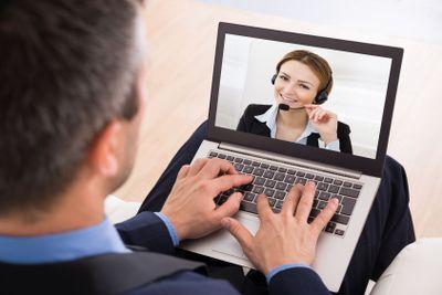 Businessman Video Chatting