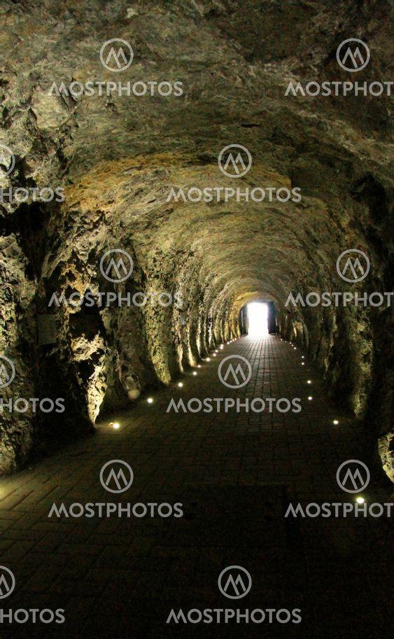 Tunnel inside Mashuk mountain to lake Proval,...