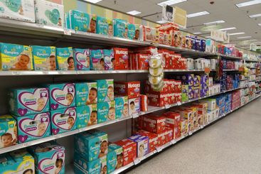 Baby products aisle of a grocery store.