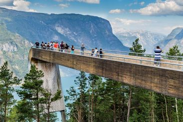 Panoramic view Stegastein in Aurland, Sogn og Fjordane,...