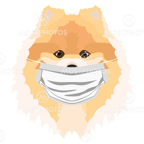 Illustration Dog Chow with respirator
