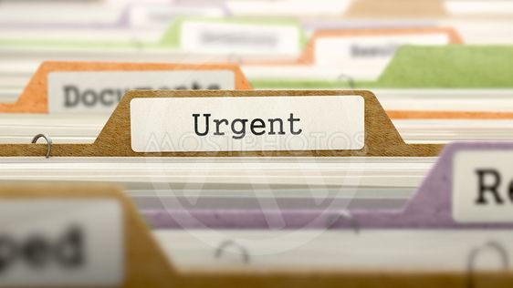 Urgent Concept on File Label.